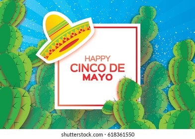 Happy Cinco de Mayo Greeting card. Origami Mexican sombrero hat, succulents. Mexico, Carnival. Blue background with paper cut cactus. Square frame for text. Vector illustration.