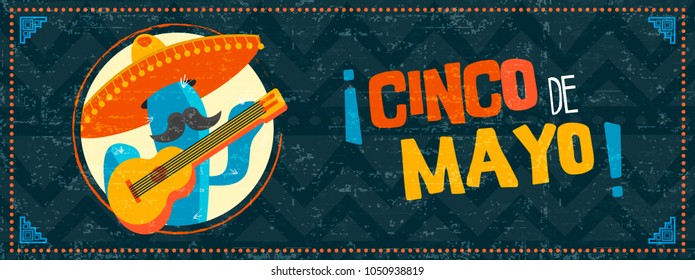 Happy cinco de mayo holiday illustration. Festive mexican event web banner with funny mariachi cactus and vintage background. EPS10 vector.