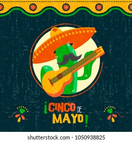 Happy cinco de mayo holiday greeting card illustration. Festive mexican event design with funny mariachi cactus and vintage background. EPS10 vector.