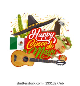 Happy Cinco de Mayo vector greeting card of Mexican holiday design. Fiesta party sombrero, guitar and maracas, cactus, flag of Mexico and chilli tacos, decorated with fireworks, Puebla Battle themes