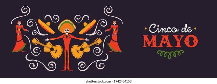 Happy Cinco de Mayo web banner illustration for mexico independence celebration. May 5th quote with traditional culture decoration. Includes mariachi man, skeleton woman and guitar.