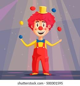 Happy circus clown. Cartoon vector illustration. Man juggling balls. Circus show. Vintage style.