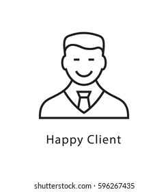 Happy Client Vector Line Icon