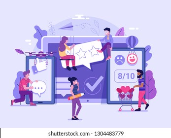 Happy clients leaving positive feedback on social media and internet. Customer satisfaction concept with people sharing good reviews. Excellent client service user experience advertising illustration.