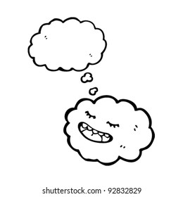 happy cloud with thought bubble