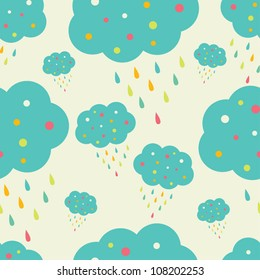 Happy clouds.  Vector. Seamless pattern can be used for wallpaper, pattern fills, web page background, surface textures.