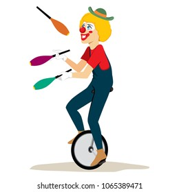 Happy clown with hat riding unicycle juggling colorful pins