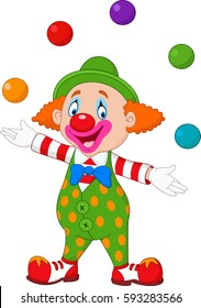 Happy clown juggling with colorful balls