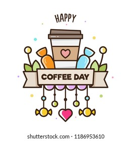 Happy Coffee Day. Vector illustration of coffee.