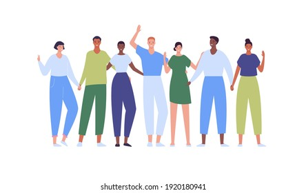 Happy college student crowd. Vector flat creative people illustration. Diverse smiling male and female group of teens. Multiethnic young adult boy and girls. Asian, caucasian and african american.