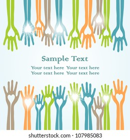 happy colorful hands, vector charity concept