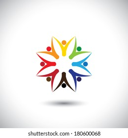 happy colorful people community in circle - concept vector. This graphic also represents motivated people, team work and team building, inspired employees, children & kids enjoying
