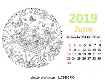 happy coloring page calendar for 2019 june
