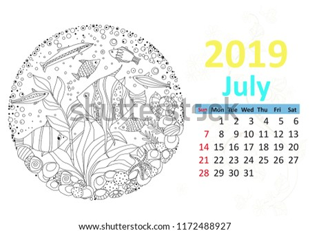 happy coloring page calendar for 2019 july
