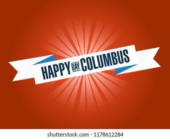 happy columbus day bright ribbon message  isolated over a red background