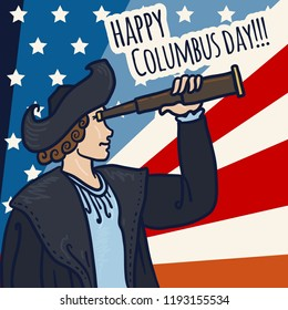 Happy columbus day concept background. Hand drawn illustration of happy columbus day vector concept background for web design