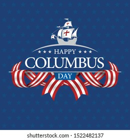 HAPPY COLUMBUS DAY Greeting card. White caravel on the title surrounded by intertwined USA flags on blue textured star background. Vector image