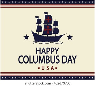 Happy Columbus day greeting card or background.vector illustration.