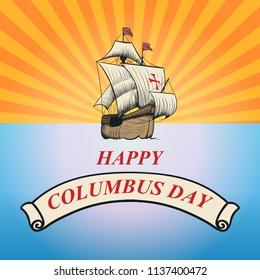 Happy Columbus day. Hand drawn vector illustration