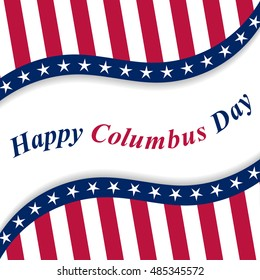 Happy Columbus Day lettering with national USA flag. Vector illustration.
