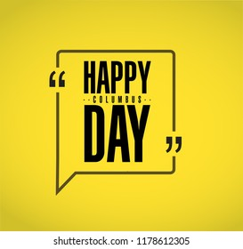 happy columbus day line quote message concept isolated over a yellow background