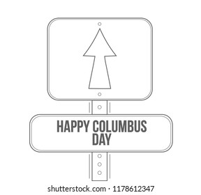 happy columbus day line street sign isolated over a white background