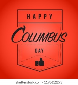 happy columbus day Modern stamp message design isolated over a red background