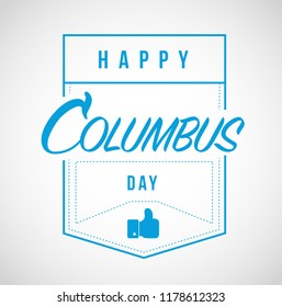 happy columbus day Modern stamp message design isolated over a white background