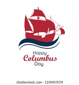 Happy Columbus Day National Usa , America Discover Holiday Poster Greeting Card Flat Vector Illustration American Flag,