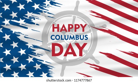 Happy Columbus Day National Usa Holiday Greeting Card With Ship Over American Flag Flat