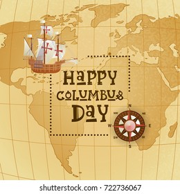 Happy Columbus Day National Usa Holiday Greeting Card With Ship Over World Map Flat Vector Illustration