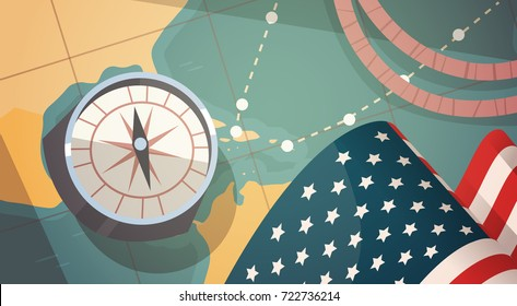 Happy Columbus Day National Usa Holiday Greeting Card With Compass Over World Map Flat Vector Illustration