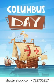 Happy Columbus Day National Usa Holiday Greeting Card With Ship In Ocean Sea Water Flat Vector Illustration