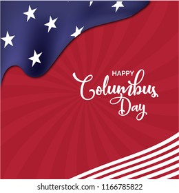 Happy columbus day poster, banner and greeting card design with USA map on background.