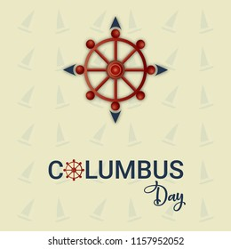 Happy columbus day with ship. Background, poster and wallpaper design.