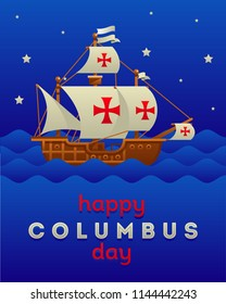 happy Columbus day with ship flat style vector illustration