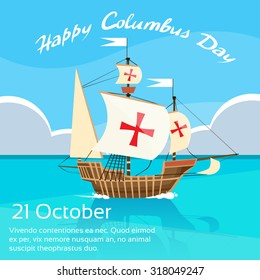 Happy Columbus Day Ship Holiday Ocean Blue Water Sky Flat Vector Illustration