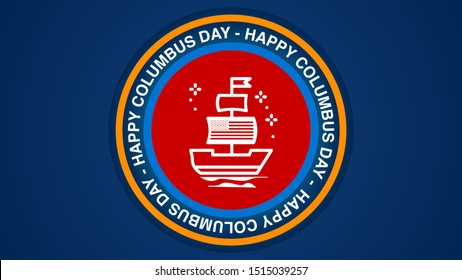 happy columbus day sticker thumbnail cover template vector