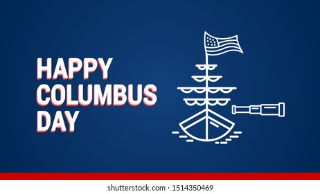 happy columbus day thumbnail cover template vector