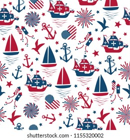 Happy columbus day. Vector illustration, seamless pattern on white background.