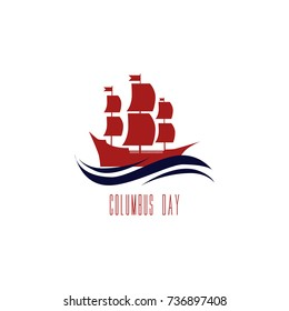 Happy Columbus Day. Vector illustration on white background. Great holiday gift card.