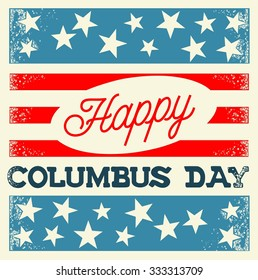 Happy Columbus Day Vintage Style Poster