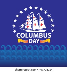 Happy Columbus Day white ship on wave sea pattern and blue background holiday vector illustration.