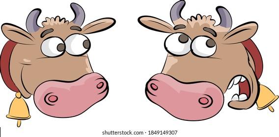 Happy and confused cows cartoon