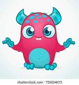 Happy cool cartoon fat monster. Pink and horned vector monster character