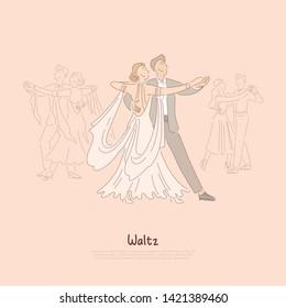 Happy couple in ballroom, young man in suit and woman in beautiful dress dancing waltz, ballet school banner