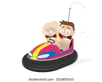 happy couple in a bumper cars