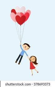 Happy couple carried away by a bunch of heart-shaped balloons