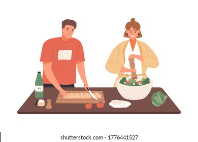 Happy couple cooking vegetable salad together vector flat illustration. Woman applying pepper to dish during man cutting bread isolated on white. People preparing healthy food on kitchen table