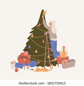 Happy couple decorating Christmas tree vector flat illustration. Woman putting on star to the top of spruce. Man wrapped in garland playing with cat isolated. Preparing for holiday celebration
